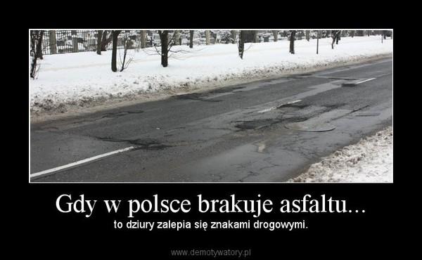 Gdy w polsce brakuje asfaltu... – to dziury zalepia się znakami drogowymi.