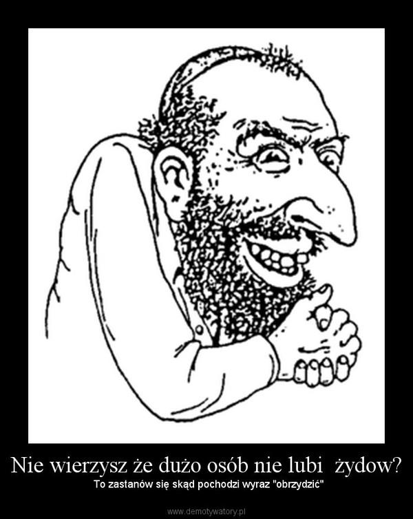 """Nie wierzysz że dużo osób nie lubi  żydow? –  To zastanów się skąd pochodzi wyraz """"obrzydzić"""""""