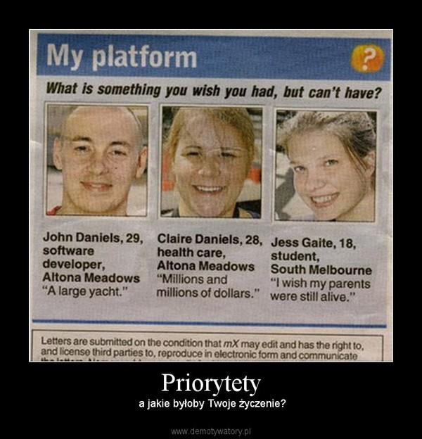 Priorytety –  a jakie byłoby Twoje życzenie?
