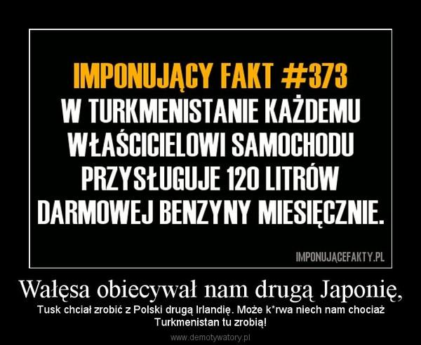 Wałęsa obiecywał nam drugą Japonię, – Tusk chciał zrobić z Polski drugą Irlandię. Może k*rwa niech nam chociażTurkmenistan tu zrobią!