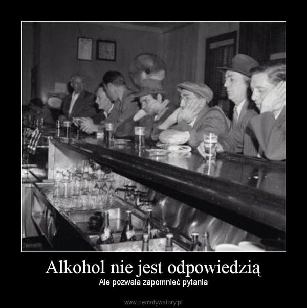 Alkohol nie jest odpowiedzią – Ale pozwala zapomnieć pytania