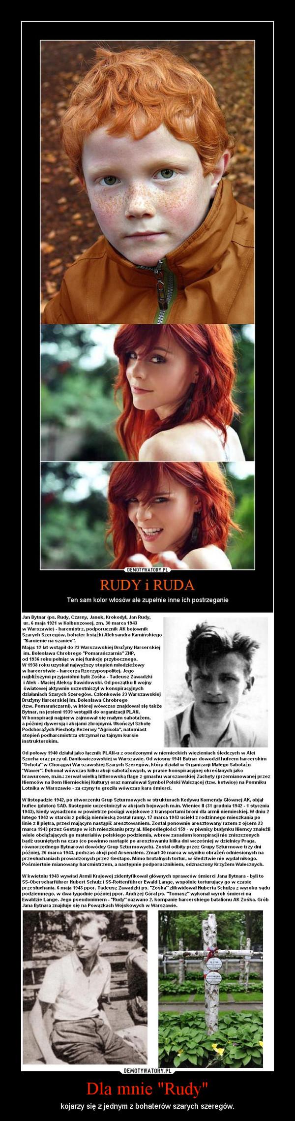 """Dla mnie """"Rudy"""" – kojarzy się z jednym z bohaterów szarych szeregów."""
