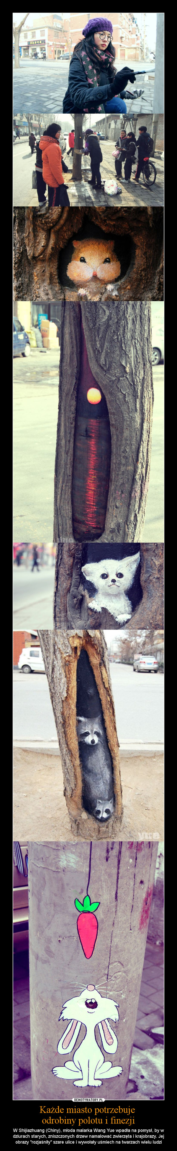 """Każde miasto potrzebuje odrobiny polotu i finezji – W Shijiazhuang (Chiny), młoda malarka Wang Yue wpadła na pomysł, by w dziurach starych, zniszczonych drzew namalować zwierzęta i krajobrazy. Jej obrazy """"rozjaśniły"""" szare ulice i wywołały uśmiech na twarzach wielu ludzi"""