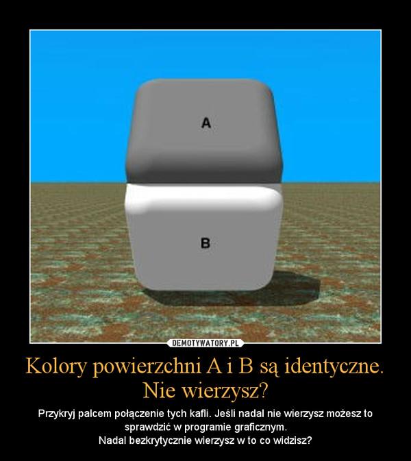 Kolory powierzchni A i B są identyczne. Nie wierzysz? – Przykryj palcem połączenie tych kafli. Jeśli nadal nie wierzysz możesz to sprawdzić w programie graficznym.Nadal bezkrytycznie wierzysz w to co widzisz?
