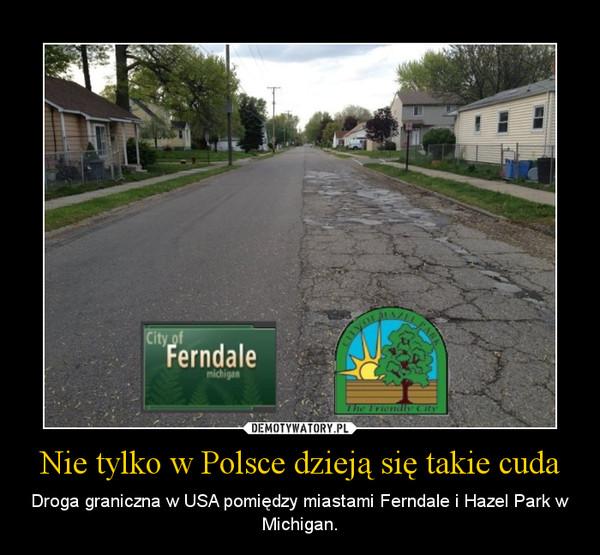 Nie tylko w Polsce dzieją się takie cuda – Droga graniczna w USA pomiędzy miastami Ferndale i Hazel Park w Michigan.
