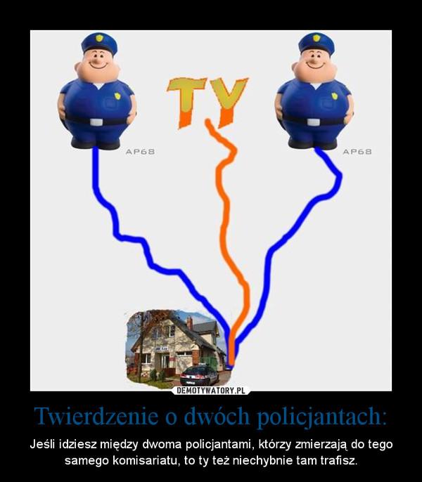 Twierdzenie o dwóch policjantach: – Jeśli idziesz między dwoma policjantami, którzy zmierzają do tego samego komisariatu, to ty też niechybnie tam trafisz.