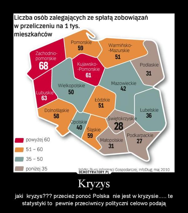 Kryzys – jaki  kryzys??? przecież ponoć Polska  nie jest w kryzysie..... te statystyki to  pewnie przeciwnicy polityczni celowo podają