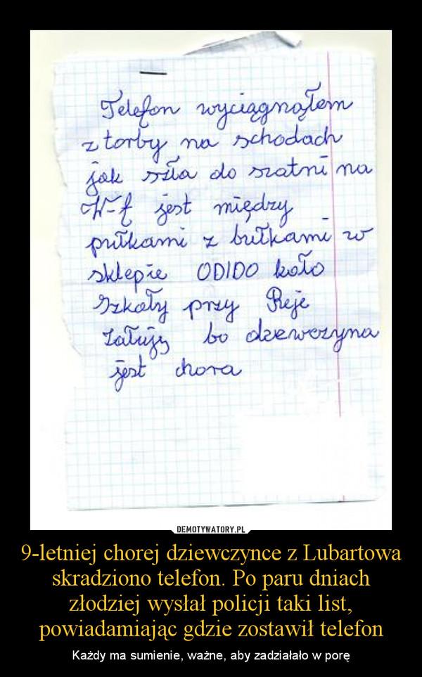 9-letniej chorej dziewczynce z Lubartowa skradziono telefon. Po paru dniach złodziej wysłał policji taki list, powiadamiając gdzie zostawił telefon – Każdy ma sumienie, ważne, aby zadziałało w porę