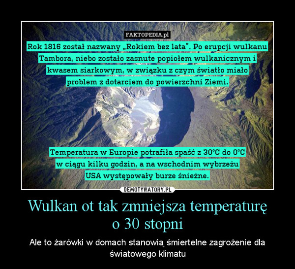 Wulkan ot tak zmniejsza temperaturęo 30 stopni – Ale to żarówki w domach stanowią śmiertelne zagrożenie dla światowego klimatu