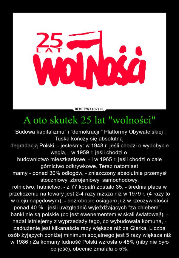 """A oto skutek 25 lat """"wolności"""" – """"Budowa kapitalizmu"""" i """"demokracji """" Platformy Obywatelskiej i Tuska kończy się absolutną degradacją Polski. - jesteśmy: w 1948 r. jeśli chodzi o wydobycie węgla, - w 1959 r. jeśli chodzi o budownictwo mieszkaniowe, - i w 1965 r. jeśli chodzi o całe górnictwo odkrywkowe. Teraz natomiastmamy - ponad 30% odłogów, - zniszczony absolutnie przemysł stoczniowy, zbrojeniowy, samochodowy,rolnictwo, hutnictwo, - z 77 kopalń zostało 35, - średnia płaca w przeliczeniu na towary jest 2-4 razy niższa niż w 1979 r. (4 razy to w oleju napędowym), - bezrobocie osiągało już w rzeczywistości ponad 40 % - jeśli uwzględnić wyjeżdżających """"za chlebem"""", - banki nie są polskie (co jest ewenementem w skali światowej!), - nadal istniejemy z wyprzedaży tego, co wybudowała komuna, - zadłużenie jest kilkanaście razy większe niż za Gierka. Liczba osób żyjących poniżej minimum socjalnego jest 5 razy większa niż w 1986 r.Za komuny ludność Polski wzrosła o 45% (niby nie było co jeść), obecnie zmalała o 5%."""