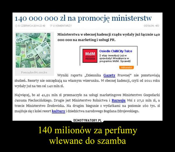 140 milionów za perfumywlewane do szamba –