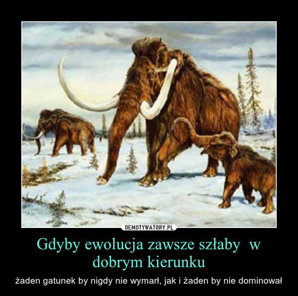 Gdyby ewolucja zawsze szłaby  w dobrym kierunku – żaden gatunek by nigdy nie wymarł, jak i żaden by nie dominował