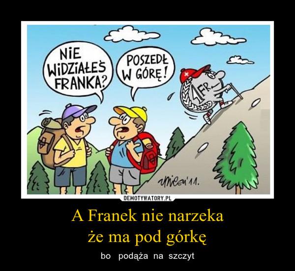A Franek nie narzekaże ma pod górkę – bo   podąża  na  szczyt