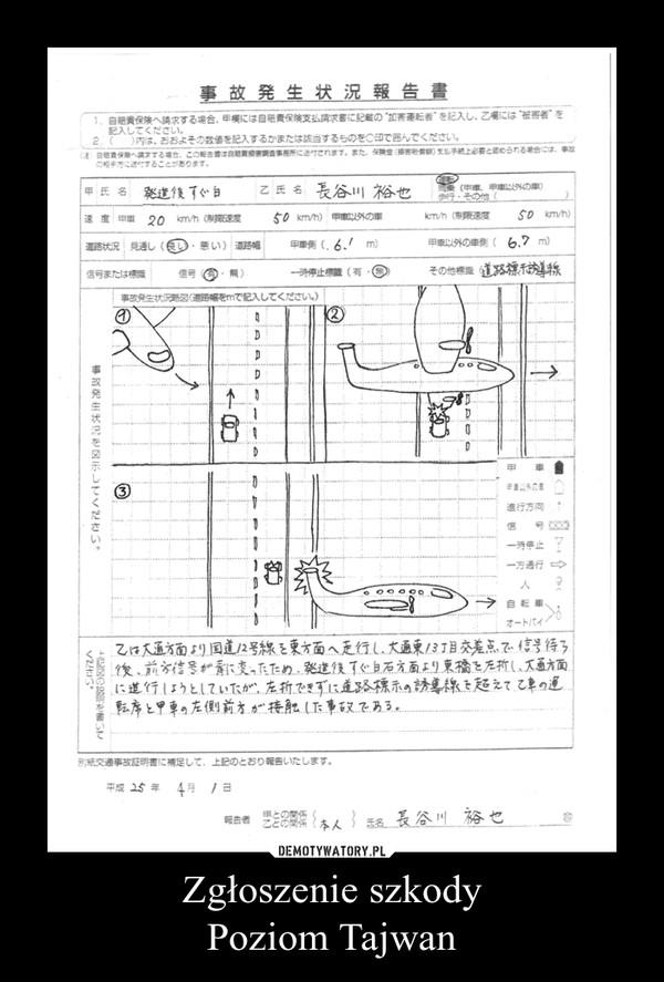 Zgłoszenie szkodyPoziom Tajwan –
