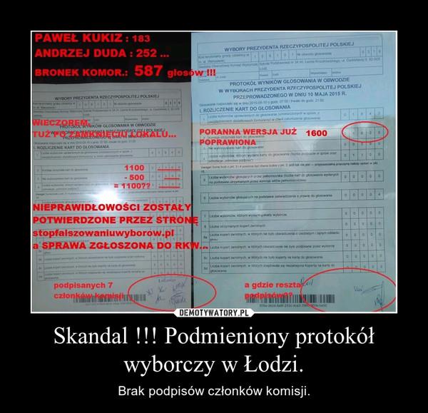 Skandal !!! Podmieniony protokół wyborczy w Łodzi. – Brak podpisów członków komisji.