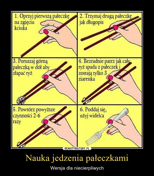 Nauka jedzenia pałeczkami – Wersja dla niecierpliwych 1. Oprzyj pierwszą pałeczkę na zgięciu kciuka 2. Trzymaj drugą pałeczkę jak długopis 3. Poruszaj górną pałeczką w dół aby złapać ryż 4. Bezradnie patrz jak ca ryż spada z pałeczek i zostają tylko 3 ziarenka 5. Powtórz powyższe czynności 2-6 razy 6. Poddaj się, użyj widelca