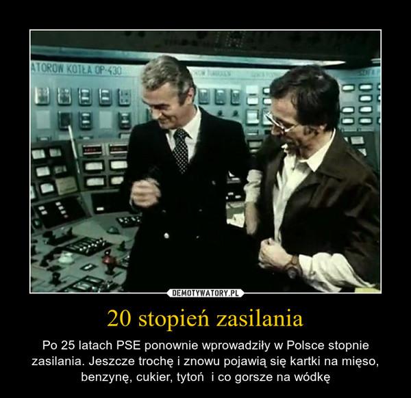 20 stopień zasilania – Po 25 latach PSE ponownie wprowadziły w Polsce stopnie zasilania. Jeszcze trochę i znowu pojawią się kartki na mięso, benzynę, cukier, tytoń  i co gorsze na wódkę