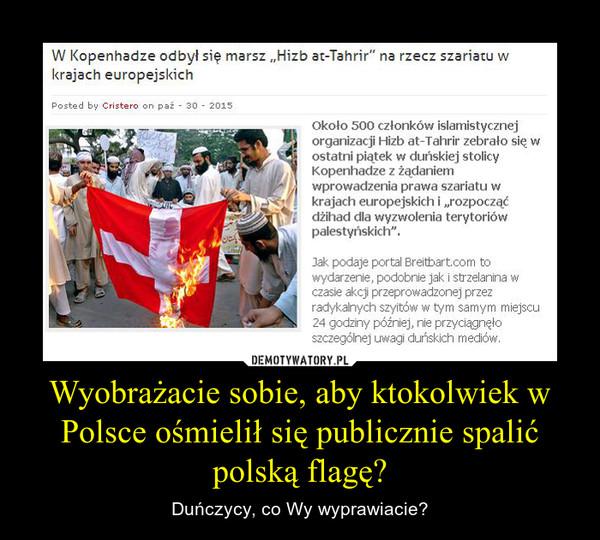 Wyobrażacie sobie, aby ktokolwiek w Polsce ośmielił się publicznie spalić polską flagę? – Duńczycy, co Wy wyprawiacie?