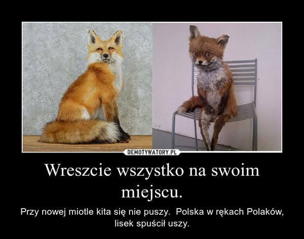 Wreszcie wszystko na swoim miejscu. – Przy nowej miotle kita się nie puszy.  Polska w rękach Polaków, lisek spuścił uszy.