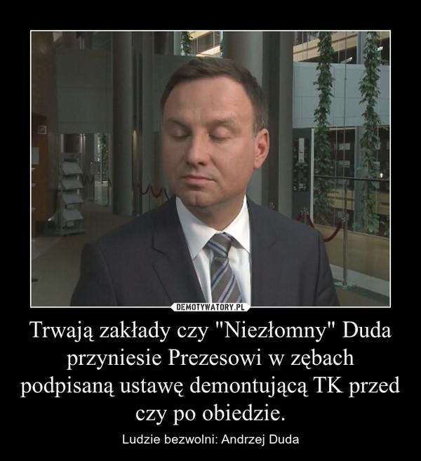 """Trwają zakłady czy """"Niezłomny"""" Duda przyniesie Prezesowi w zębach podpisaną ustawę demontującą TK przed czy po obiedzie. – Ludzie bezwolni: Andrzej Duda"""