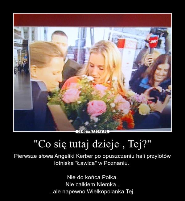"""""""Co się tutaj dzieje , Tej?"""" – Pierwsze słowa Angeliki Kerber po opuszczeniu hali przylotów lotniska """"Ławica"""" w Poznaniu. Nie do końca Polka.Nie całkiem Niemka....ale napewno Wielkopolanka Tej."""