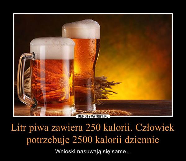 Litr piwa zawiera 250 kalorii. Człowiek potrzebuje 2500 kalorii dziennie – Wnioski nasuwają się same...
