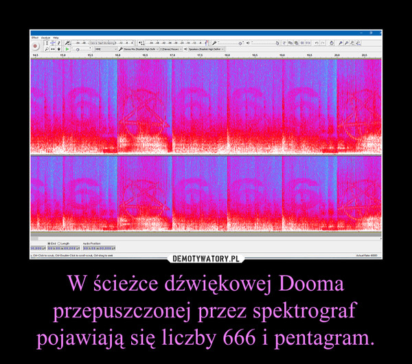 W ścieżce dźwiękowej Dooma przepuszczonej przez spektrograf pojawiają się liczby 666 i pentagram. –