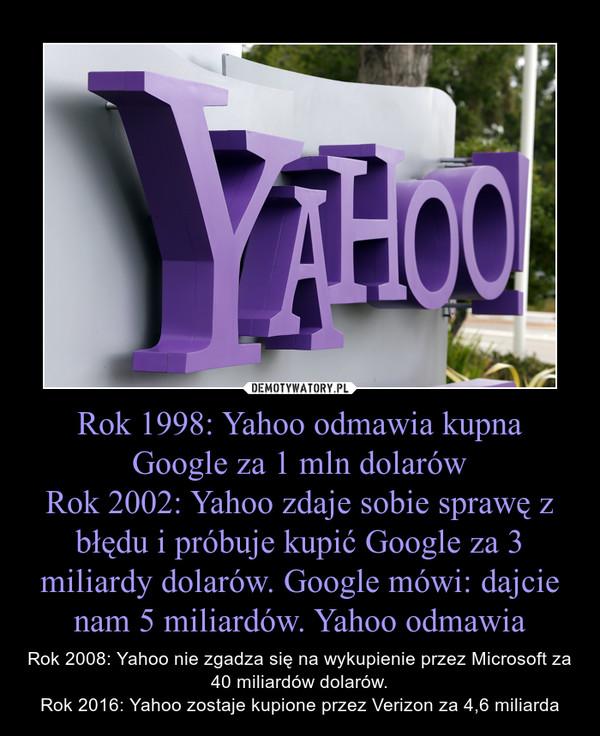 Rok 1998: Yahoo odmawia kupna Google za 1 mln dolarówRok 2002: Yahoo zdaje sobie sprawę z błędu i próbuje kupić Google za 3 miliardy dolarów. Google mówi: dajcie nam 5 miliardów. Yahoo odmawia – Rok 2008: Yahoo nie zgadza się na wykupienie przez Microsoft za 40 miliardów dolarów.Rok 2016: Yahoo zostaje kupione przez Verizon za 4,6 miliarda