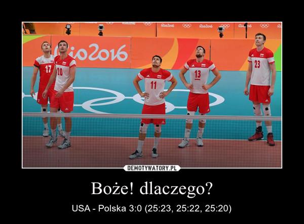 Boże! dlaczego? – USA - Polska 3:0 (25:23, 25:22, 25:20)