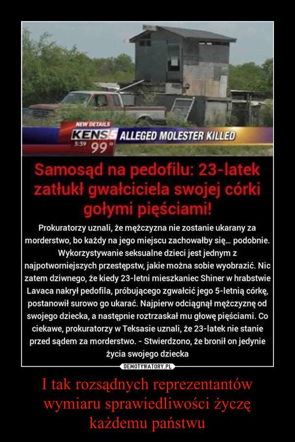 I tak rozsądnych reprezentantów wymiaru sprawiedliwości życzę każdemu państwu –  Samosąd na pedofilu: 23-latek zatłukł gwałciciela swojej córki gołymi pięściami!Prokuratorzy uznali, że mężczyzna nie zostanie ukarany zamorderstwo, bo każdy na jego miejscu zachowałby się... podobnie.Wykorzystywanie seksualne dzieci jest jednym znajpotworniejszych przestępstw, jakie można sobie wyobrazić. Niczatem dziwnego, że kiedy 23-Ietni mieszkaniec Shiner w hrabstwieLavaca nakrył pedofila, próbującego zgwałcić jego 5-Ietnią córkę,postanowił surowo go ukarać. Najpierw odciągnął mężczyznę odswojego dziecka, a następnie roztrzaskał mu głowę pięściami. Cociekawe, prokuratorzy w Teksasie uznali, że 23-latek nie stanieprzed sądem za morderstwo. ~ Stwierdzono, że bronił on jedynieżycia swojego dziecka