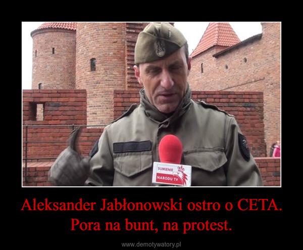 Aleksander Jabłonowski ostro o CETA. Pora na bunt, na protest. –