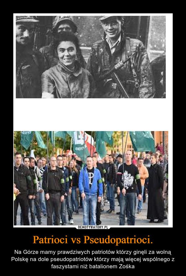 Patrioci vs Pseudopatrioci. – Na Górze mamy prawdziwych patriotów którzy ginęli za wolną Polskę na dole pseudopatriotów którzy mają więcej wspólnego z faszystami niż batalionem Zośka