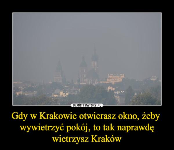 Gdy w Krakowie otwierasz okno, żeby wywietrzyć pokój, to tak naprawdęwietrzysz Kraków –