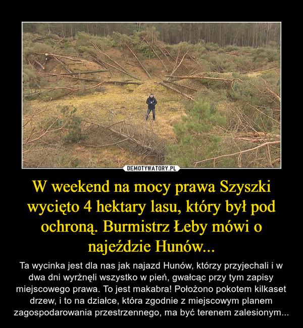 W weekend na mocy prawa Szyszki wycięto 4 hektary lasu, który był pod ochroną. Burmistrz Łeby mówi o najeździe Hunów... – Ta wycinka jest dla nas jak najazd Hunów, którzy przyjechali i w dwa dni wyrżnęli wszystko w pień, gwałcąc przy tym zapisy miejscowego prawa. To jest makabra! Położono pokotem kilkaset drzew, i to na działce, która zgodnie z miejscowym planem zagospodarowania przestrzennego, ma być terenem zalesionym...