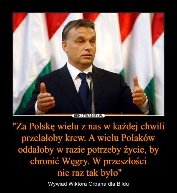 """""""Za Polskę wielu z nas w każdej chwili przelałoby krew. A wielu Polaków oddałoby w razie potrzeby życie, by chronić Węgry. W przeszłości nie raz tak było"""" – Wywiad Wiktora Orbana dla Bildu"""