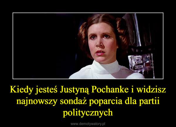 Kiedy jesteś Justyną Pochanke i widzisz najnowszy sondaż poparcia dla partii politycznych –