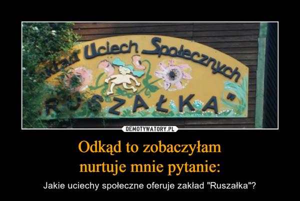 """Odkąd to zobaczyłamnurtuje mnie pytanie: – Jakie uciechy społeczne oferuje zakład """"Ruszałka""""?"""