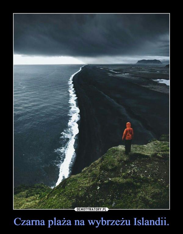 Czarna plaża na wybrzeżu Islandii. –