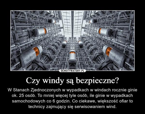 Czy windy są bezpieczne? – W Stanach Zjednoczonych w wypadkach w windach rocznie ginie ok. 25 osób. To mniej więcej tyle osób, ile ginie w wypadkach samochodowych co 6 godzin. Co ciekawe, większość ofiar to technicy zajmujący się serwisowaniem wind.