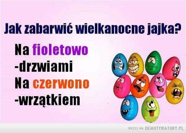 Wielkanocne jajka –  Jak zabarwić wielkanocne jajka? Na fioletowo -drzwiami Na czerwono-wrzątkiem