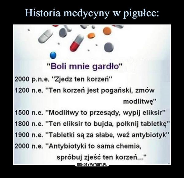 """–  """"Boli mnie gardło""""2000 р.n.e. """"Zjedz ten korzeń""""1200 n.e. """"Ten korzeń jest pogański, zmówmodlitwę""""1500 n.e. """"Modlitwy to przesądy, wypij eliksir""""1800 n.e. """"Ten eliksir to bujda, połknij tabletkę""""1900 n.e. """"Tabletki są za słabe, weź antybiotyk""""2000 n.e. """"Antybiotyki to sama chemia,spróbuj zjeść ten korzeń..."""""""