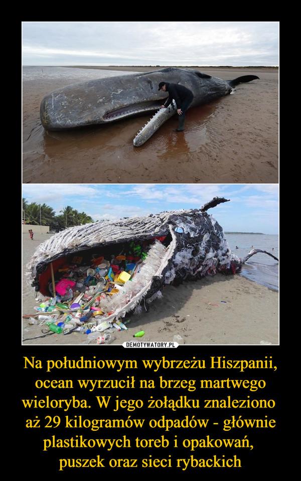 Na południowym wybrzeżu Hiszpanii, ocean wyrzucił na brzeg martwego wieloryba. W jego żołądku znaleziono aż 29 kilogramów odpadów - głównie plastikowych toreb i opakowań, puszek oraz sieci rybackich –