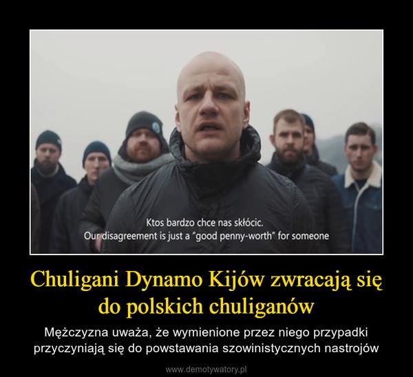 Chuligani Dynamo Kijów zwracają się do polskich chuliganów – Mężczyzna uważa, że wymienione przez niego przypadki przyczyniają się do powstawania szowinistycznych nastrojów