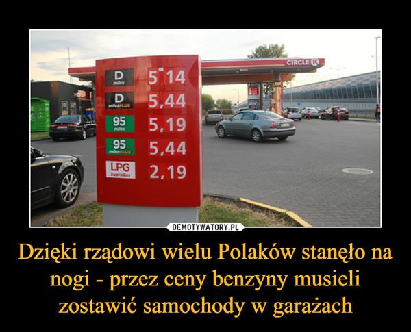 Dzięki rządowi wielu Polaków stanęło na nogi - przez ceny benzyny musieli zostawić samochody w garażach –