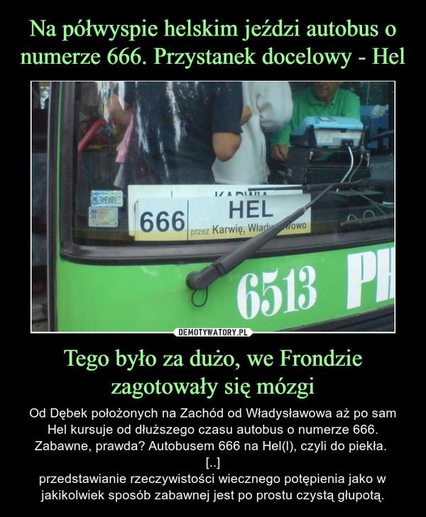 Tego było za dużo, we Frondzie zagotowały się mózgi – Od Dębek położonych na Zachód od Władysławowa aż po sam Hel kursuje od dłuższego czasu autobus o numerze 666. Zabawne, prawda? Autobusem 666 na Hel(l), czyli do piekła. [..]przedstawianie rzeczywistości wiecznego potępienia jako w jakikolwiek sposób zabawnej jest po prostu czystą głupotą.