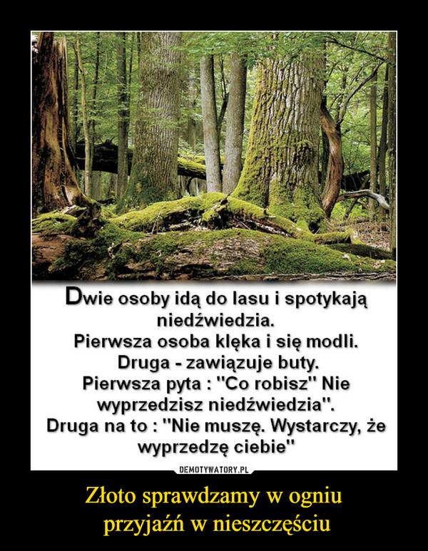 """Złoto sprawdzamy w ogniu przyjaźń w nieszczęściu –  Dwie osoby idą do lasu i spotykająniedźwiedzia.Pierwsza osoba klęka i się modli.Druga - zawiązuje buty.Pierwsza pyta : """"Co robisz"""" Niewyprzedzisz niedzwiedzia.Druga na to : """"Nie muszę. Wystarczy, żewyprzedzę ciebie'"""""""