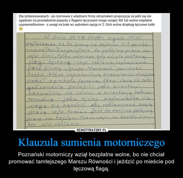 Klauzula sumienia motorniczego – Poznański motorniczy wziął bezpłatne wolne, bo nie chciał promować tamtejszego Marszu Równości i jeździć po mieście pod tęczową flagą.