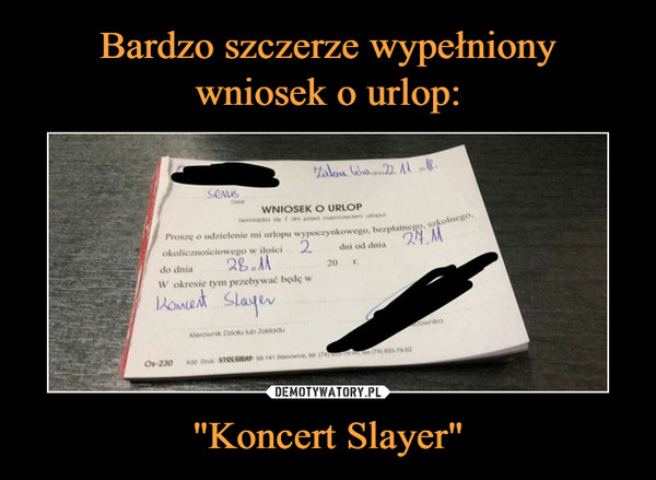 """Koncert Slayer"" –"