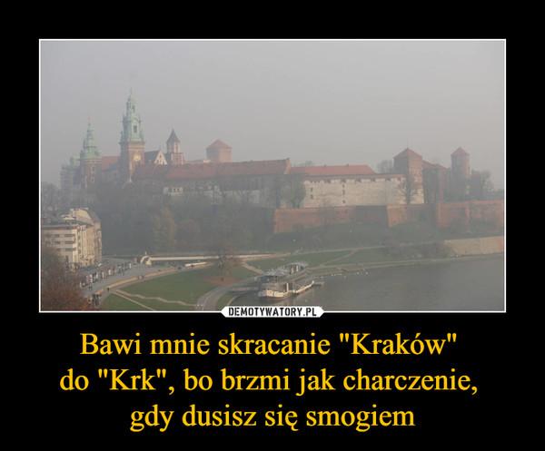 """Bawi mnie skracanie """"Kraków"""" do """"Krk"""", bo brzmi jak charczenie, gdy dusisz się smogiem –"""