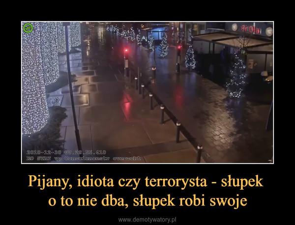 Pijany, idiota czy terrorysta - słupek o to nie dba, słupek robi swoje –